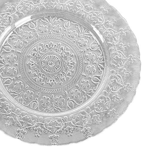 (Koyal Wholesale 805414 Bulk Bloom Glass Embossed Charger Plates (4 Pack), 13