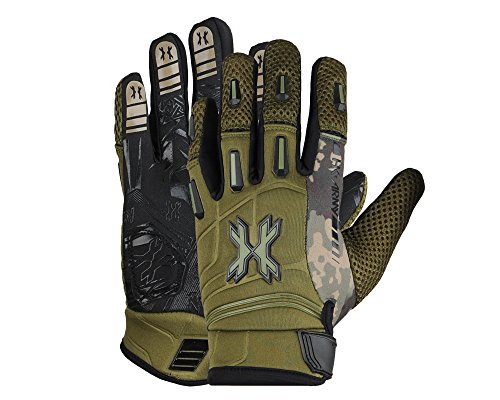 HK Army FULL FINGER Hardline Paintball Gloves (Olive HSTL Camo, X-Large)