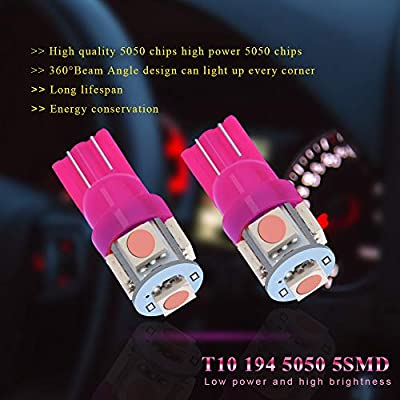 EverBright 20-Pack Pink T10 194 168 2825 W5W 5050 5-SMD LED Bulb for Car Replacement Interior Lights Wedge Dome, Trunk, Dashboard Bulb License Plate Light Lamp DC 12V: Automotive