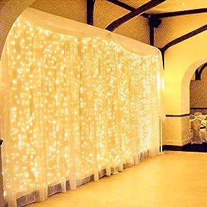 600 LED 6Mx3M Zorela Tenda Luminosa Natale IP44 Impermeabile Luci di Natale 8 Modalità Tenda Luminosa Esterno Bianco Caldo Tenda di Luci Esterno LED Luci Stringa per Natale, Giardino e Matrimonio 2 spesavip