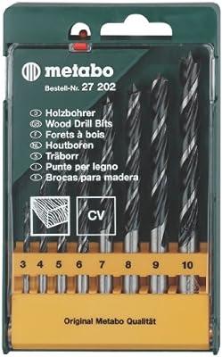 Metabo 627202000 627202000-Estuche 8 Brocas para Madera helicoidales 3/4 / 5/6 / 7/8 / 9/10 mm: Amazon.es: Bricolaje y herramientas