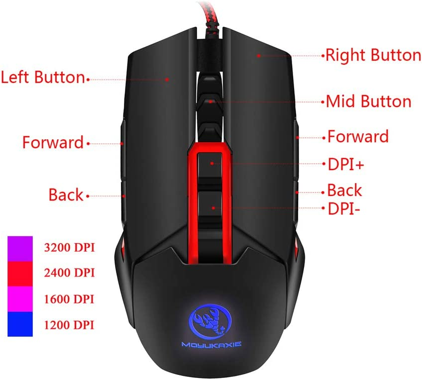 FSM88 Gaming Mouse 3200 DPI Optical Sensor 7 Programmable Buttons Left Hand Mouse for Computer//Games /& Work Chroma RGB Lighting