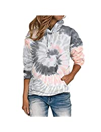 CTMY Women's Hoodies Tie Dye Printed Sweatshirt Loose Shirt Blouse Casual Long Sleeve Pocket Top Hooded Pullover