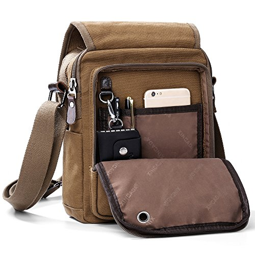 XINCADA Mens Bag Messenger Bag Canvas Shoulder Bags Travel Bag Man Purse Crossbody Bags for Work Business (Gucci Canvas Shoulder Bag)