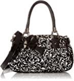 MG Collection Tweed Floral Bow Shoulder Bag