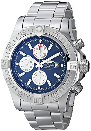 Breitling Men's BTA1337111-C871SS Super Avenger II Analog Display Swiss Automatic Silver Watch (Bracelet Resistant Water Breitling)