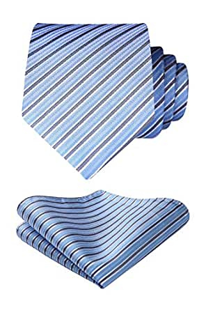 HISDERN Mens Business Striped Tie Handkerchief Wedding Party Necktie & Pocket Square Set