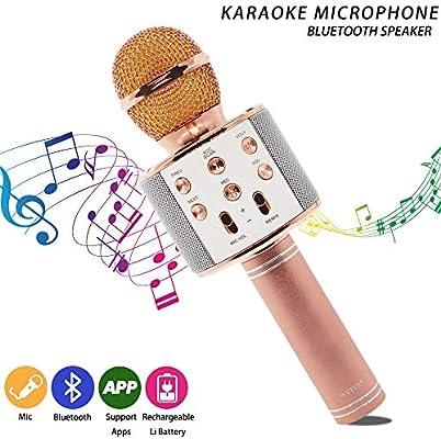 Micrófono Inalámbrico Karaoke Portátil Bluetooth, Smarwear Reproductor Grabadora de Karaoke Wireless con Altavoz para Teléfono Android iOS PC, Amplificador de Voz para Reunión, Presentaciones: Amazon.es: Instrumentos musicales
