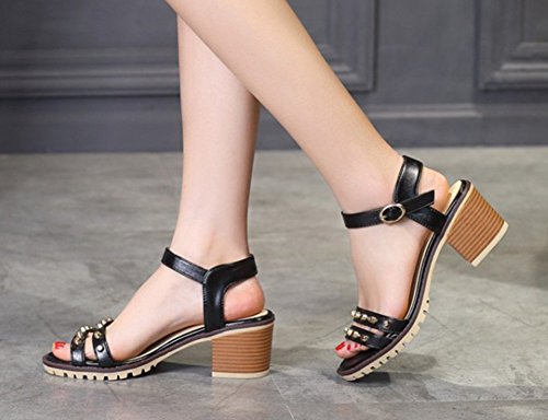 Aisun Womens Hot Studded Open Toe Buckle Block Kitten Heels Sandals Shoes With Ankle Straps Black mixu2