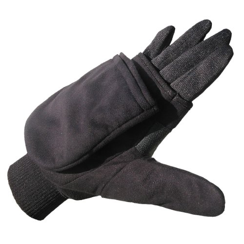 Heat Factory Gloves with Pop-Top Mittens, with Hand Heat Warmer Pockets, Black, Large