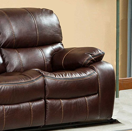 Roundhill Furniture Ewa Leather Air Reclining Sofa Brown Best Sofas Online Usa
