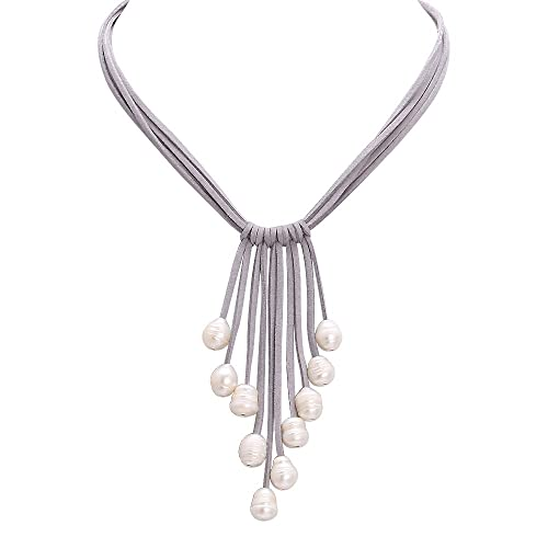 Aobei Long White Freshwater Cultured Pearls Leather Necklace Multi Strand Costume Jewelry on Suede Cord-  sc 1 st  Amazon.com & Amazon.com: Aobei Long White Freshwater Cultured Pearls Leather ...