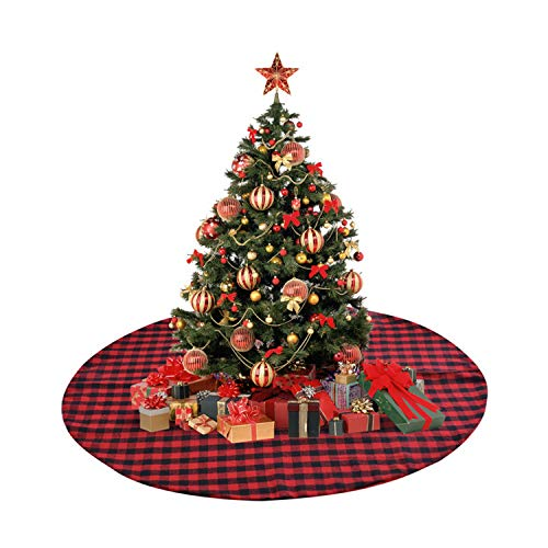 Topgalaxy.Z 48 Inch Christmas Tree Skirt Checked Tree Skirt Red Black Plaid Christmas Double Layers Décor Indoor Outdoor Mat Xmas Party ()