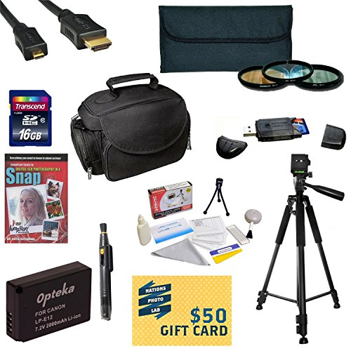 47th Street Photo Best Value Accessory Kit For the Canon M, Rebel SL1 - Kit Includes 16GB High-Speed SDHC Card + Card Reader + Extra Battery + Travel Charger + 58MM 3 Piece Pro Filter Kit (UV, CPL, FLD Lens) + HDMI Cable + Padded Gadget Bag + Professional by 47th Street Photo