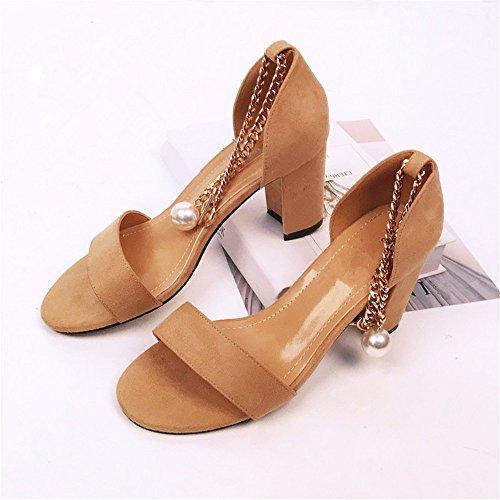 satin femmes avec nouvelle à talons sandales hauts épais l'été Camel HXVU56546 de fashion confort chaussures femmes x8Ycf4I