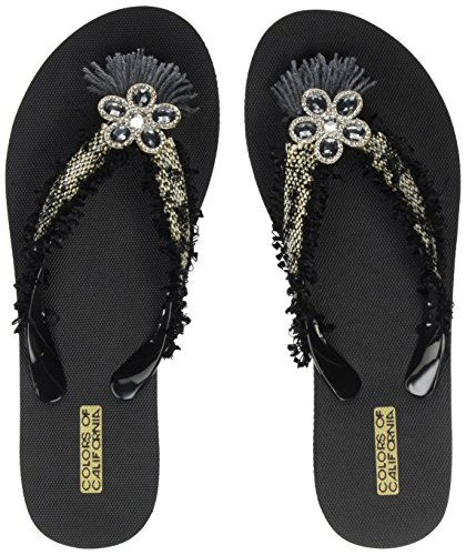 Flip California of Black Etnic Femme Eva Trim Flop Colours Tongs with Noir 4t1qx5T
