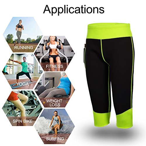 b51053969da54 ... Womens Weight Loss Hot Neoprene Sauna Sweat Pants with Side Pocket Workout  Body Shaper Thighs Belly ...