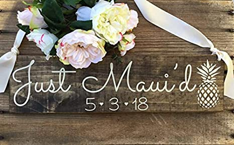 Amazon.com: CELYCASY Just Maui D Sign, Just Married Sign ...