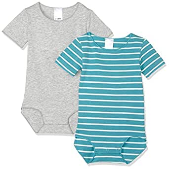 Bonds Baby Wonderbodies Short Sleeve Bodysuit (2 Pack), Saltwater and Salty/New Grey Marle, 0 (6-12 Months)
