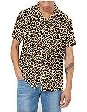 AVANZADA Men's Short Sleeve Shirts 3D Leopard Print Button Down Casual Tropical Shirts for Men Beach Hawaiian Aloha Shirt - - 3X-Large