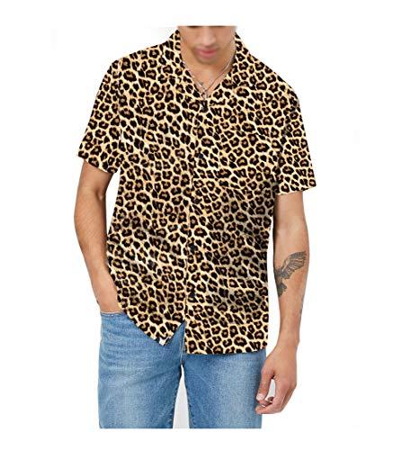 (AVANZADA Men's Short Sleeve Shirts 3D Leopard Print Button Down Casual Tropical Shirts for Men Beach Hawaiian Aloha Shirt (print1-XL))