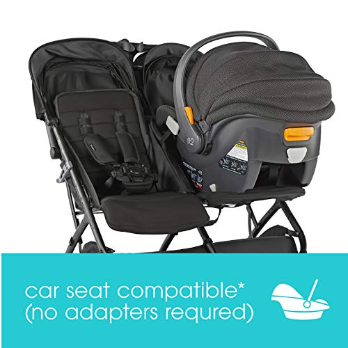 Summer 3Dpac CS+ Double Stroller, Black – Car Seat Compatible Baby Stroller – Lightweight Stroller with Convenient One-Hand Fold, Reclining Seats, Two Extra-Large Canopies & Parent Friendly Features