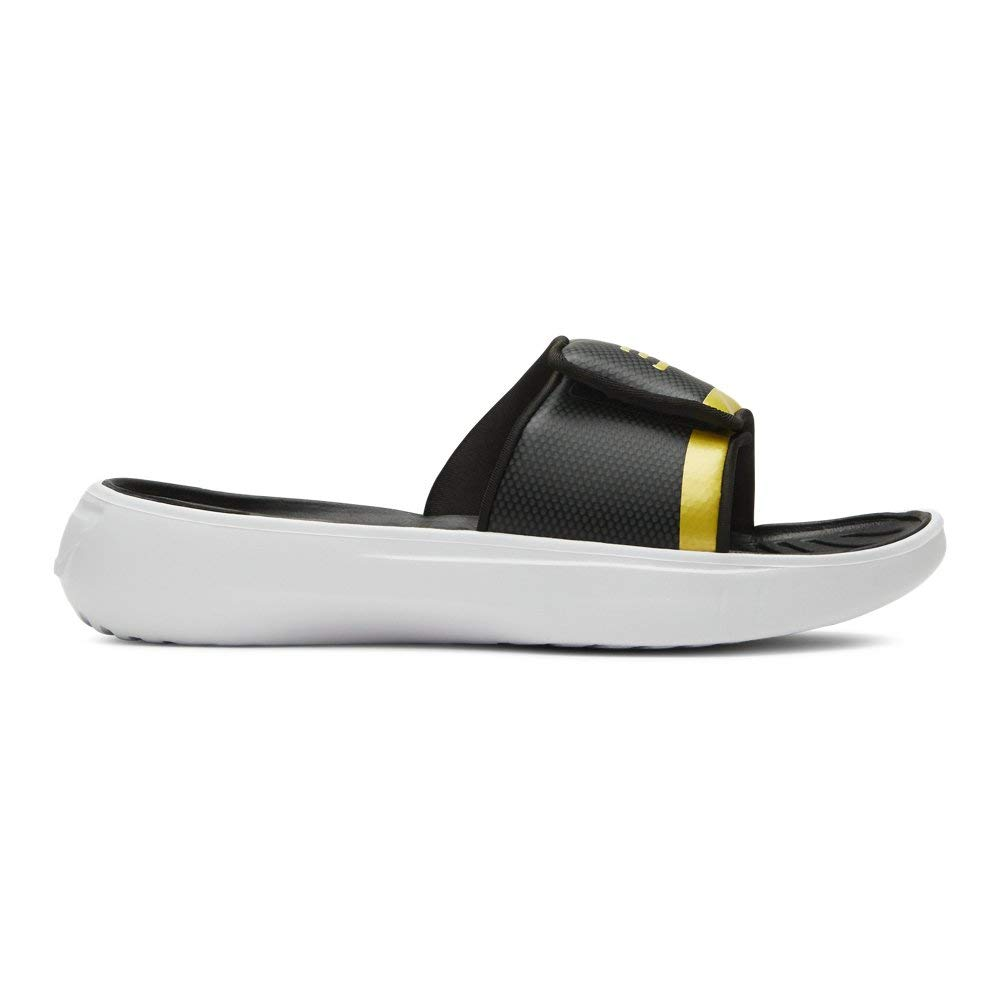 Under Armour Boys' Curry 6 Slide Sandal, Black Metallic Gold, 4 M US Big Kid