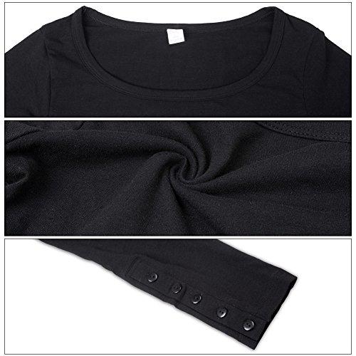 S-ZONE - Camiseta de manga larga - Básico - Cuello redondo - Manga Larga - para mujer negro
