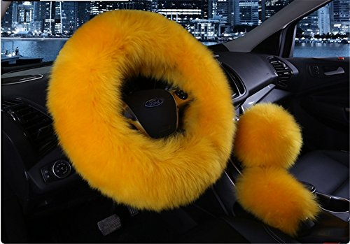 Womens Girls Ladies Fashion Winter Warm Sheepskin Wool Steering Wheel Cover Fuzzy Fluffy Sheepskin HandBrake 1 Set 3 Pcs 14.96