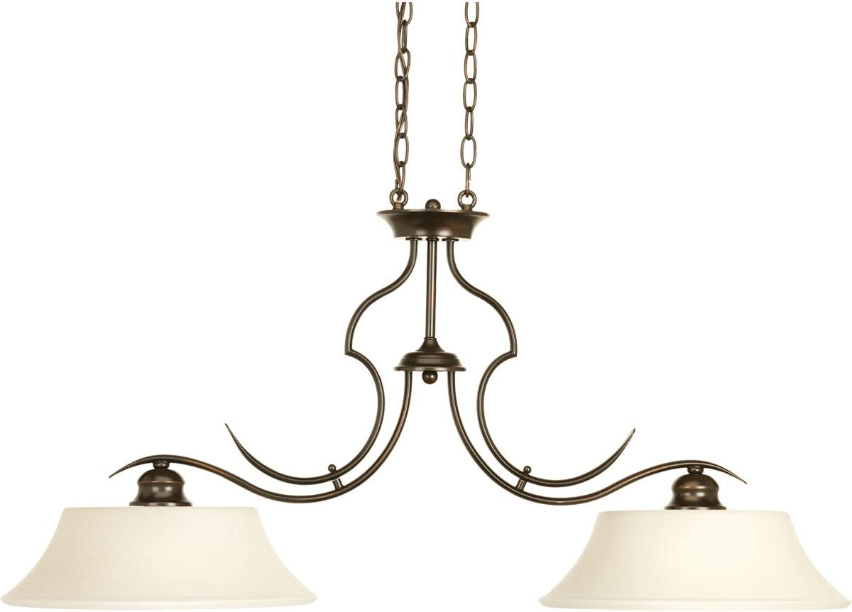 Progress Lighting P4321-20 Transitional Two Light Linear Chandelier from Applause Collection Dark Finish, 38.00 inches, Antique Bronze