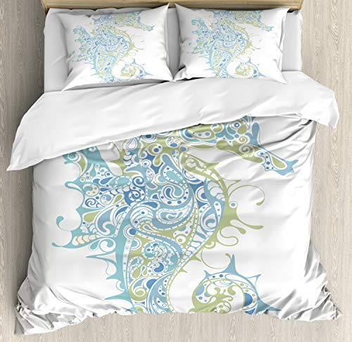 Ambesonne Seahorse Duvet Cover Set, Sea Animal Creature in a Creative Design Illustration Print, Decorative 3 Piece Bedding Set with 2 Pillow Shams, Queen Size, Pale Blue