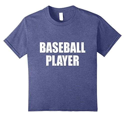 Baseball Player Costume Girl (Kids Baseball Player Shirt Halloween Costume Funny Distressed 10 Heather Blue)