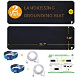 LandKissing® Grounding Mats (2sets) for Healthy Earthing Energy with 2 Grounding Bracelets and 2 Straight Cords