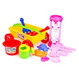 Fantastic Gifts for Christmas, Kids and Family! Beach Toys + Wagon + Funnel! Sturdy, Safety Standards Compliant, 2 SETS: 1 COLORFUL + 1 PINK. Enjoy at the Beach, Park, Garden, Bathtub or Home