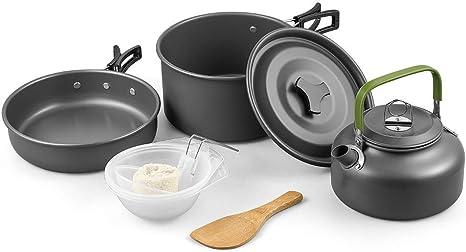 UK Foldable Camping Cook Cooking Cookware Set Lightweight Pots Pans