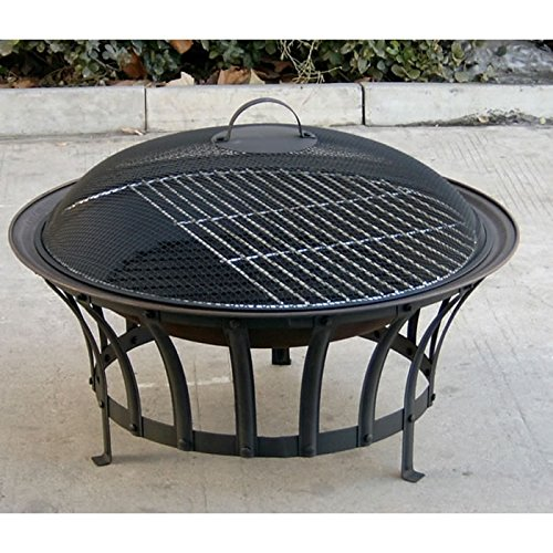Trueshopping Stromboli Fire Pit 69 cm Diameter + BBQ Grid + Spark Guard + Poker + Weather Cover