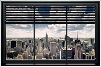 plastic window blinds translucent new york poster and frame plastic window blinds 36 24 inches amazoncom