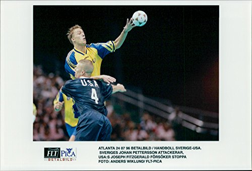 Vintage photo of OS Handball Sweden - USA: Sweden's Johan Pettersson attacks, US Joseph Fitzgerald tries to stop
