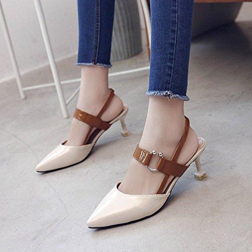 zapatos fina punta horario Xue noche tarde Qiqi zapatos corbata margen manera y mantenerse ninguna de al 39 pequeña color femenina con ranurada lograron de de Baotou hadas beige sandalias wqXx0PZq