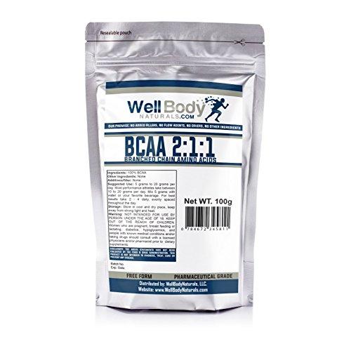 WellBodyNaturals Pure BCAA 2:1:1 (Branch Chain Amino Acids) Instantized Powder (100 grams)
