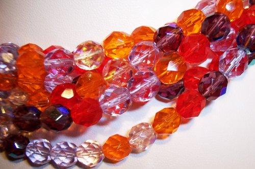 Melonberry MIX Czech Fire Polish 8mm Beads 50