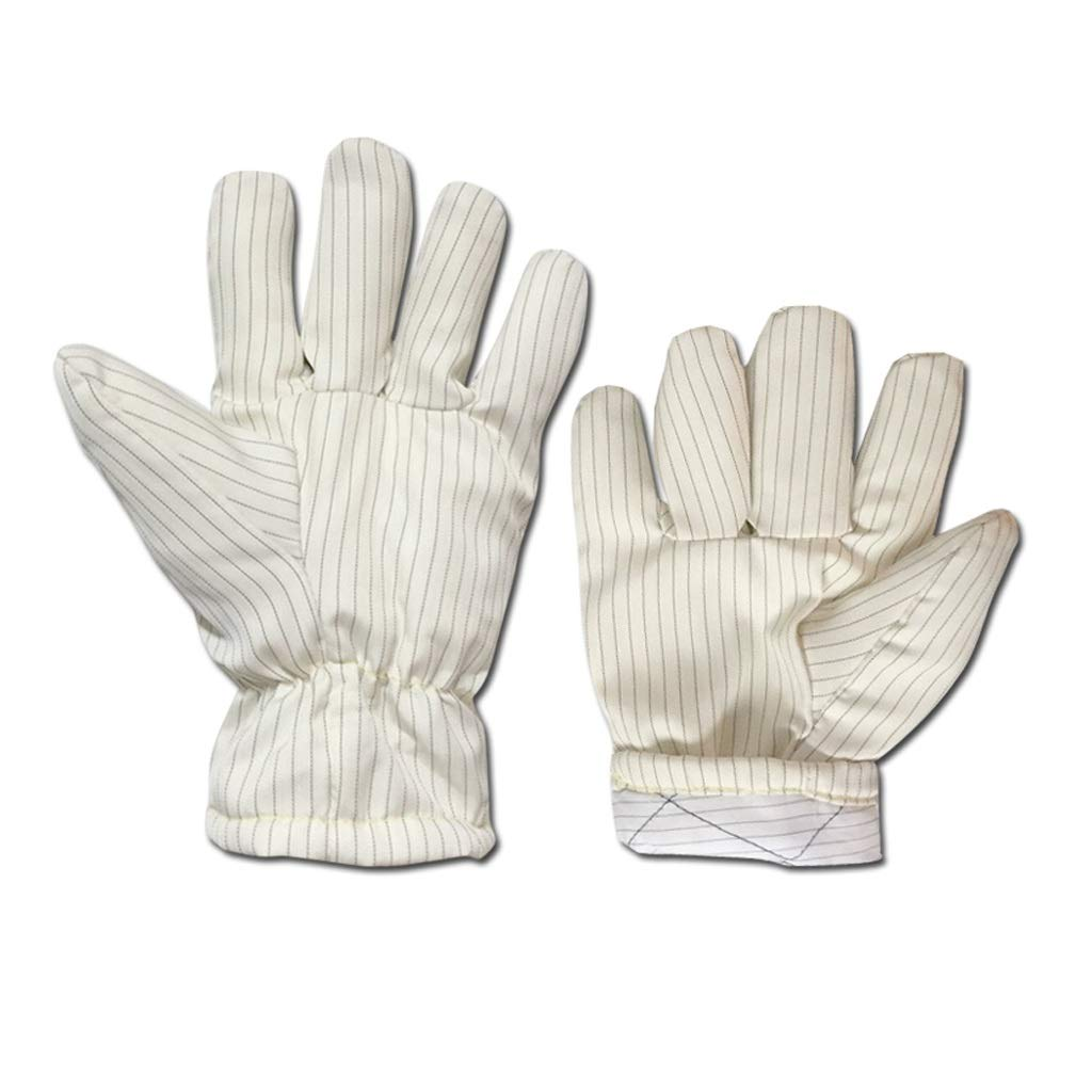 LSLMCS High-Temperature Anti-Static 300° Anti-scalding Heat-Proof Lint-Free Gloves Industrial Gloves White Stripe Perfect for Fireplace,Oven (10.4in)