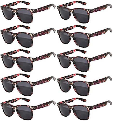 (Vintage Retro Eyeglasses Sunglasses Smoke Lens 10 Pack Colored Colors Frame OWL (Flolwers_Black_10_Pairs, PC)