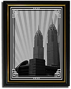 Al Kazim Towers Metro - Black And White With Silver Border No Text F08-nm (a4) - Framed