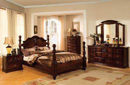 5 pc Tuscan II Dark Pine Finish Wood Queen Bedroom Set - Bedroom Pine Bed