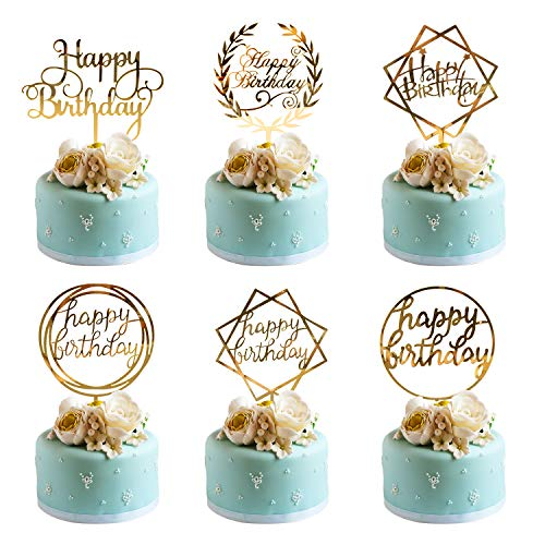 Whaline 6 Pack Happy Birthday Cake Topper Acrylic Cupcake Topper for Various Birthday Cake Decorations, ()
