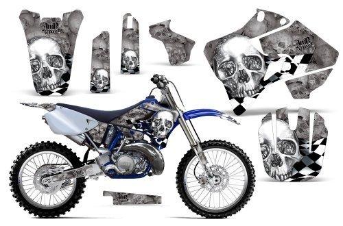 Checkered Skull-AMRRACING MX Graphics decal kit fits Yamaha YZ 125/250 (1996-2001)-Chrome