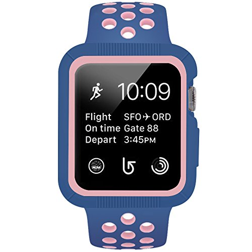 1 Vintage Garden (BRG Compatible Apple Watch Case Band, Silicone Sport Replacement iWatch Band Compatible Apple Watch Series 3/2/1 Sport 38mm S/M, Midnight Blue/Vintage Rose)