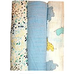 Jacqui's Baby Boys' 100% Cotton Muslin Receiving Blankets - Zoo Animals, 0-3 Months