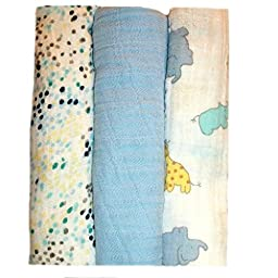 Jacqui\'s Baby Boys\' 100% Cotton Muslin Receiving Blankets - Zoo Animals, 0-3 Months